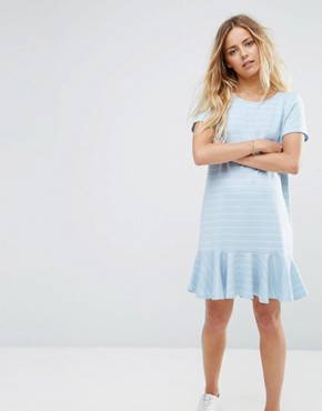 photo Ruffle Hem Striped T-Shirt Dress by Vila, color Light Blue - Image 1