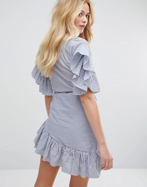 photo Stripe Dress with Tie's and Ruffle Sleeves by Aeryne, color Navy/Off White - Image 2