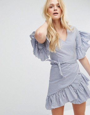 photo Stripe Dress with Tie's and Ruffle Sleeves by Aeryne, color Navy/Off White - Image 1