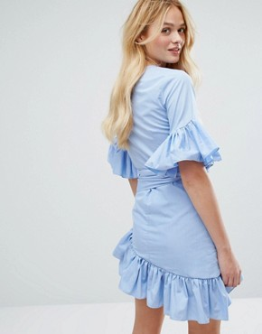 photo Mini Dress with Tie's and Ruffle Sleeves by Aeryne, color Blue - Image 2