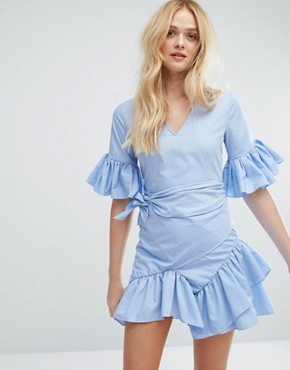 photo Mini Dress with Tie's and Ruffle Sleeves by Aeryne, color Blue - Image 1