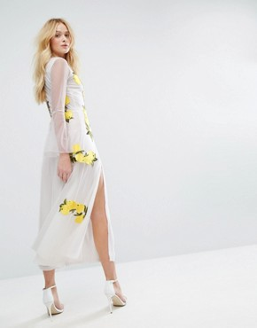 photo Embroidered Mesh Maxi Dress with Bell Sleeves by Aeryne, color White/Lemon - Image 2