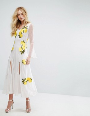 photo Embroidered Mesh Maxi Dress with Bell Sleeves by Aeryne, color White/Lemon - Image 1