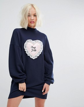 photo Oversized Sweat Dress with Cheap Frills Satin Patch by Lazy Oaf, color Black - Image 1