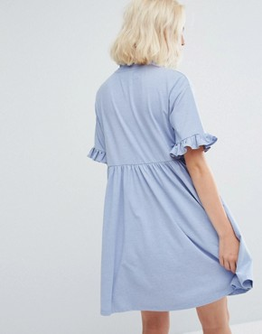 photo Oversized T-Shirt Dress with Frilly Hearts by Lazy Oaf, color Baby Blue - Image 2
