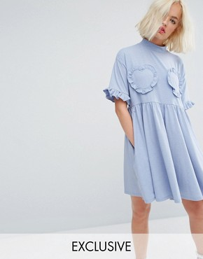photo Oversized T-Shirt Dress with Frilly Hearts by Lazy Oaf, color Baby Blue - Image 1