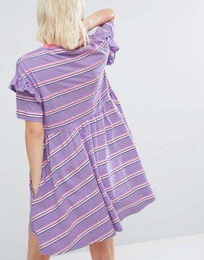 photo Short Sleeve Smock Dress in Stripe by Lazy Oaf, color Lilac Stripe - Image 2
