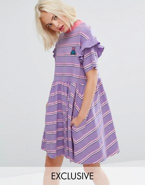 photo Short Sleeve Smock Dress in Stripe by Lazy Oaf, color Lilac Stripe - Image 1