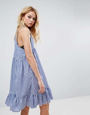 photo Vintage Cami Dress with Peplum Hem in Gingham by Milk It, color Blue - Image 2