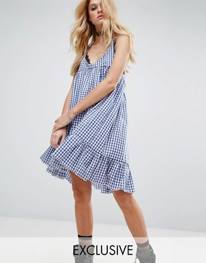 photo Vintage Cami Dress with Peplum Hem in Gingham by Milk It, color Blue - Image 1