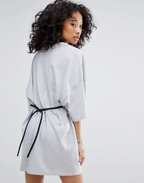 photo Vintage Oversize T-Shirt Dress with Chain Bra by Milk It, color Grey - Image 2