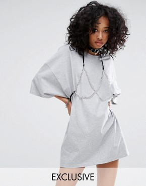 photo Vintage Oversize T-Shirt Dress with Chain Bra by Milk It, color Grey - Image 1
