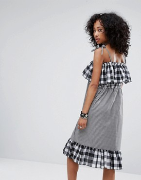 photo Vintage Strappy Dress in Mix and Match Gingham by Milk It, color Black - Image 2