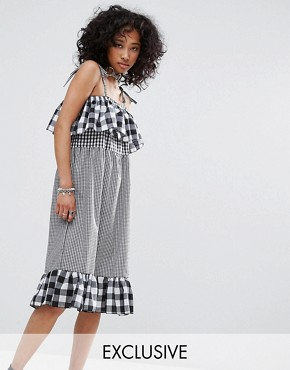 photo Vintage Strappy Dress in Mix and Match Gingham by Milk It, color Black - Image 1