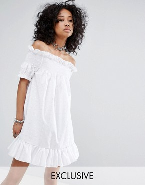 photo Vintage Off The Shoulder Mini Dress in Broderie by Milk It, color White - Image 1