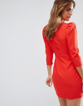 photo Wrap Front Mini Dress by ASOS, color Red - Image 2