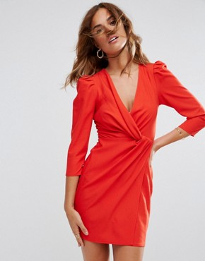 photo Wrap Front Mini Dress by ASOS, color Red - Image 1