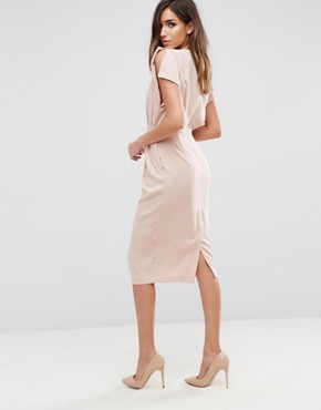 photo Split Cap Sleeve Midi Dress with Modern Ring Belt by ASOS, color Champagne - Image 2
