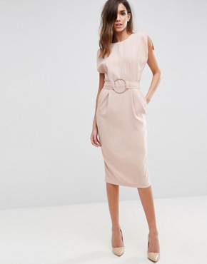 photo Split Cap Sleeve Midi Dress with Modern Ring Belt by ASOS, color Champagne - Image 1
