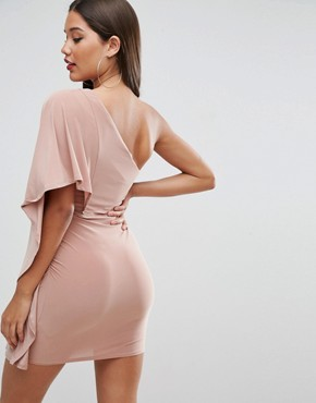 photo Slinky One Shoulder Kimono Mini Dress by ASOS, color Champagne - Image 2