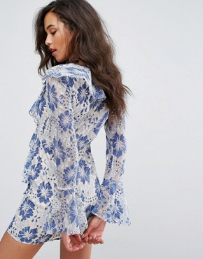 photo Lace Ruffle Plunge Dress by Missguided, color Blue - Image 2
