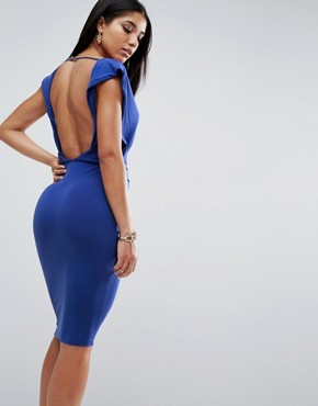 photo Crepe Twist Back Midi Dress by ASOS, color Cobalt - Image 2