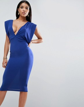 photo Crepe Twist Back Midi Dress by ASOS, color Cobalt - Image 1