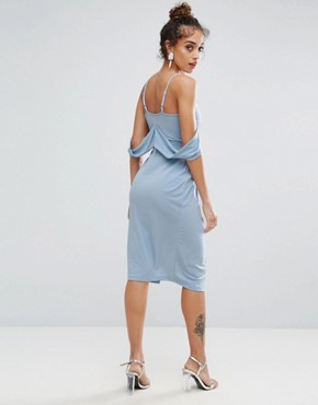 photo Crepe Wrap Front Bardot Midi Dress by ASOS, color Baby Blue - Image 2