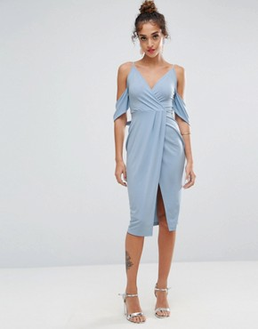 photo Crepe Wrap Front Bardot Midi Dress by ASOS, color Baby Blue - Image 1