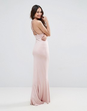 photo Slinky Deep Plunge Fishtail Plait Strap Maxi Dress by ASOS, color Nude - Image 2
