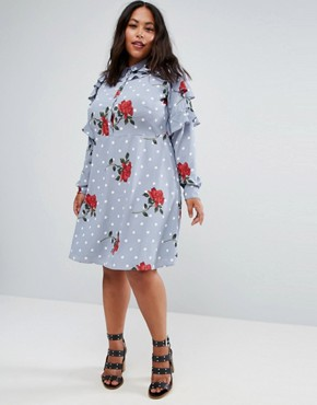 photo Ruffle Front Shirt Dress in Spot and Floral Print by ASOS CURVE, color Multi - Image 2