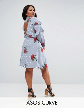 photo Ruffle Front Shirt Dress in Spot and Floral Print by ASOS CURVE, color Multi - Image 1