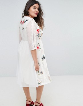 photo Midi Skater Dress with Floral Embroidery by ASOS CURVE PREMIUM, color White - Image 2
