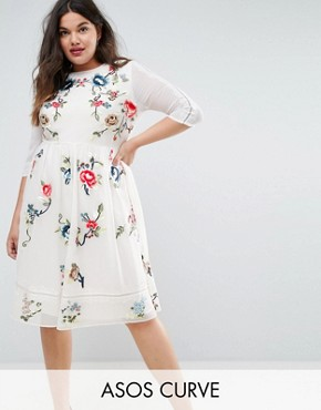 photo Midi Skater Dress with Floral Embroidery by ASOS CURVE PREMIUM, color White - Image 1