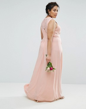 photo Lace Top Pleated Maxi Dress by ASOS CURVE WEDDING, color Nude - Image 2