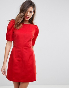 photo Shift Dress with Puff Sleeve by ASOS, color Red - Image 1