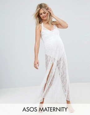 photo Beach Lace Maxi Dress by ASOS Maternity, color White - Image 1