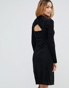 photo Velvet Burn Out Dress by Mamalicious, color Black - Image 2