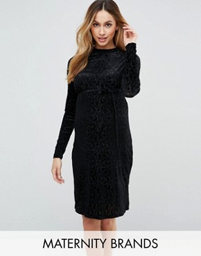 photo Velvet Burn Out Dress by Mamalicious, color Black - Image 1