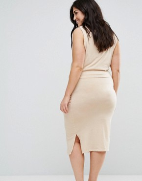 photo Knot Detail Sleeveless Jersey Dress by Junarose, color Cream - Image 2