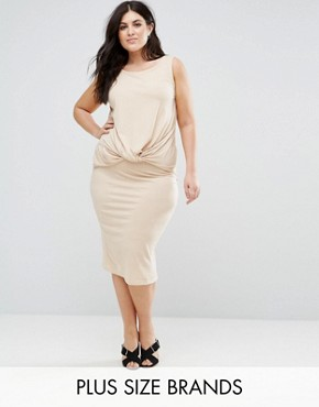 photo Knot Detail Sleeveless Jersey Dress by Junarose, color Cream - Image 1