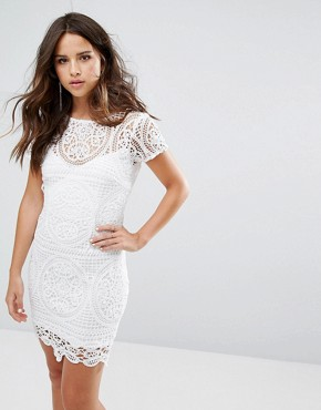 photo Mini Dress in Overscale Lace by Love Triangle, color White - Image 2