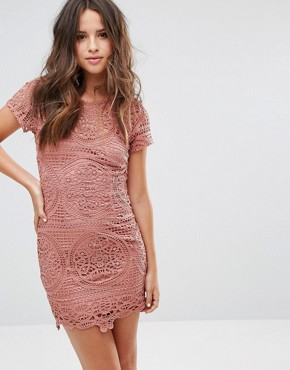 photo Mini Dress in Overscale Lace by Love Triangle, color Dark Rose - Image 2