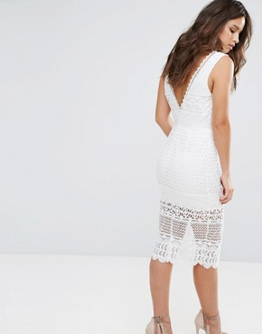 photo Lace Midi Dress with Center Split by Love Triangle, color White - Image 2