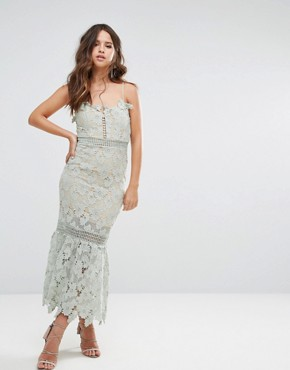 photo Cami Strap Lace Dress with Pephem by Love Triangle, color Sage - Image 1