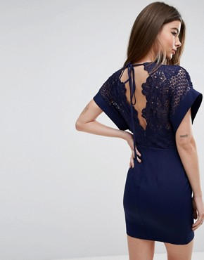 photo Lace 2 in 1 Mini Dress with Kimono Sleeve by Love Triangle, color Navy - Image 2