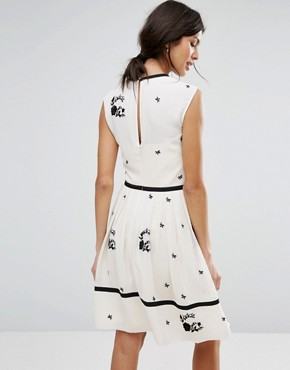 photo Bow Detail A-Line Dress by Ted Baker, color Ivory - Image 2