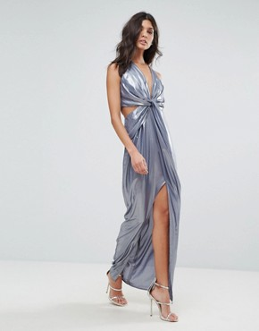 photo Metallic Cami Twist Front Maxi Dress by ASOS, color Gunmetal - Image 1