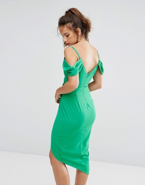 photo Wrap Front Dress with Cold Soulder Detail and Asymmetric Hem by Ginger Fizz, color Green - Image 2