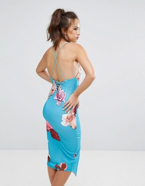 photo Plunge Front Midi Dress with Center Split by Ginger Fizz, color Turqoiuse Floral - Image 2